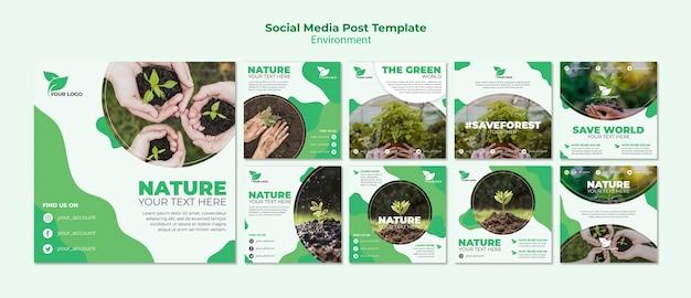 Organic social media post template Free Psd