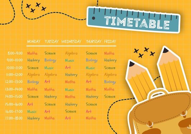 Организованное расписание для детей шаблона Бесплатные Psd