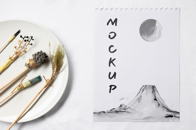 Oriental asian ink mock-up Free Psd