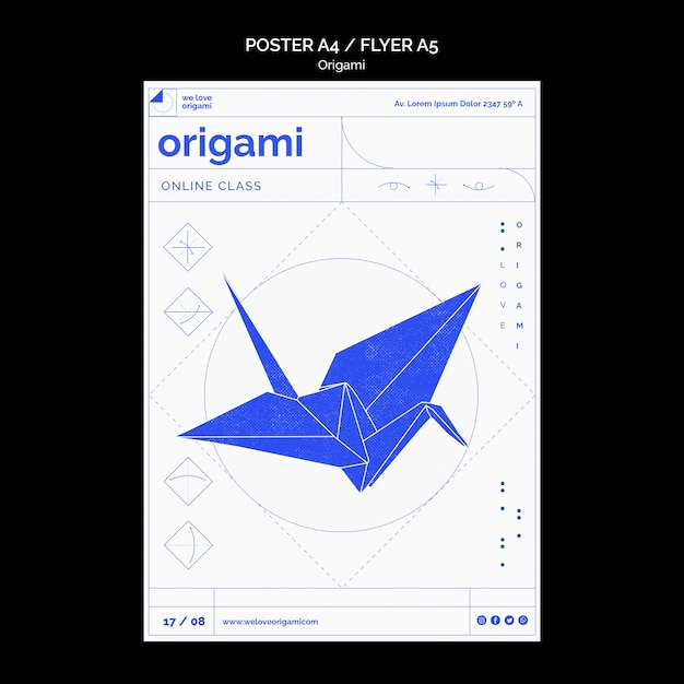 折り紙ポスターテンプレートデザイン 無料 Psd