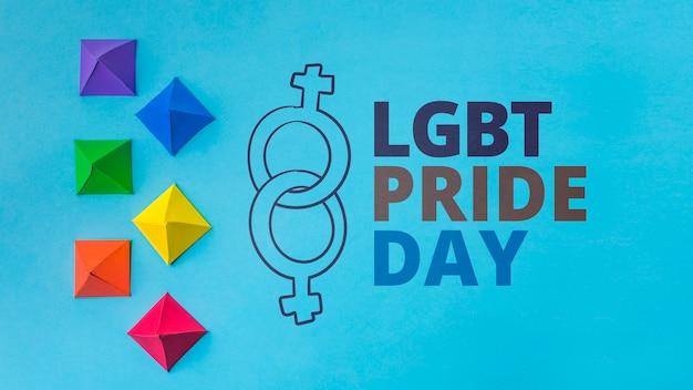 Origami shapes gay pride mockup Free Psd