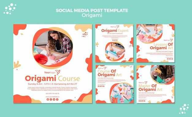 Шаблон поста в социальных сетях origami Бесплатные Psd