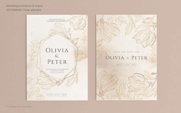 Ornamental wedding invitation template with golden nature Free Psd