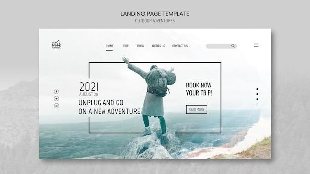야외 모험 개념 방문 페이지 템플릿 프리미엄 PSD 파일