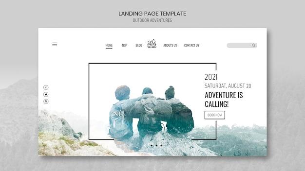 Modello di pagina di destinazione del concetto di avventure all'aria aperta Psd Gratuite
