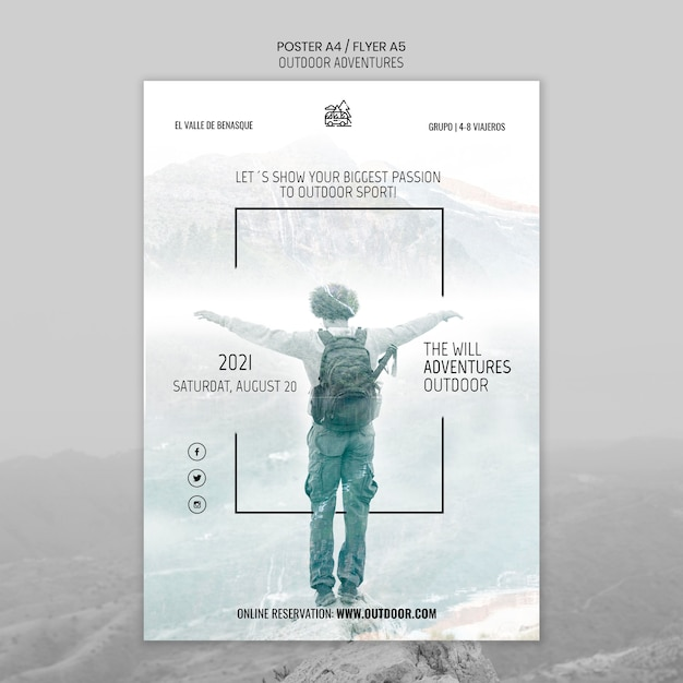 Outdoor adventures concept poster template Free Psd