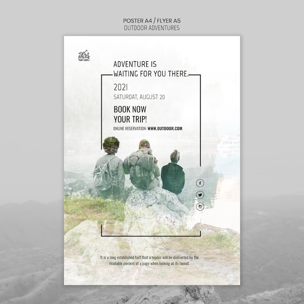Modello di poster di concetto di avventure all'aria aperta Psd Gratuite