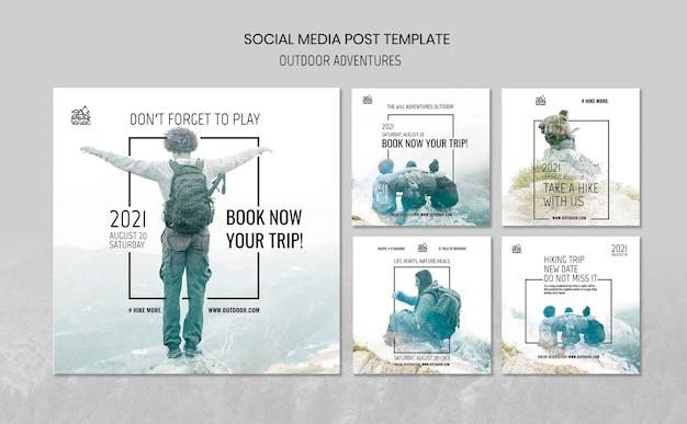Modello di post sui social media concetto di avventure all'aria aperta Psd Gratuite