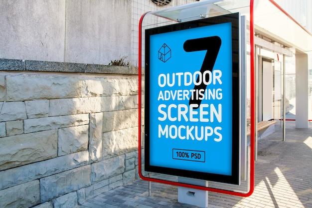 옥외 광고 화면 모형 프리미엄 PSD 파일