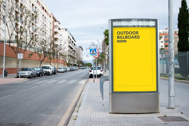 Outdoor billboard in city Free Psd