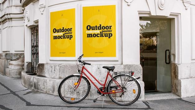 屋外コンクリートポスターモックアップ Premium Psd
