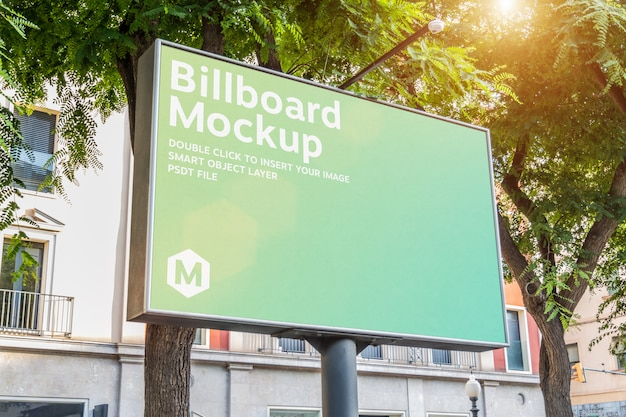 Outdoor horizontal billboard with natural landscape mockup Premium Psd