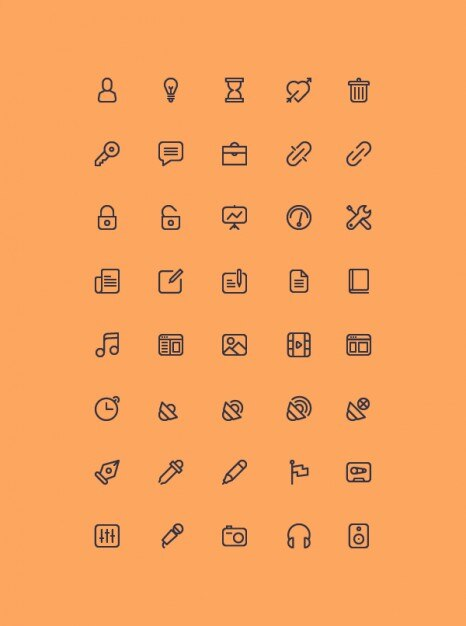 Outline icons collection psd Free Psd