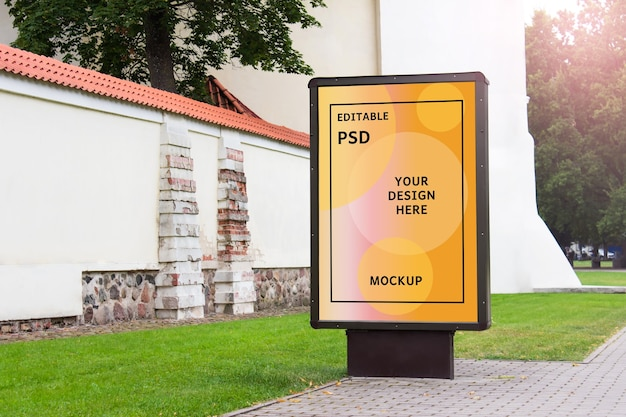 Outside mockup with street stand in city old town Premium Psd