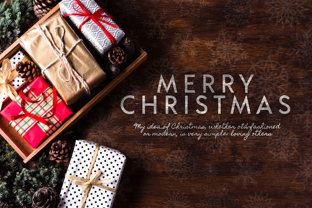 Pack of gifts for christmas holiday Free Psd