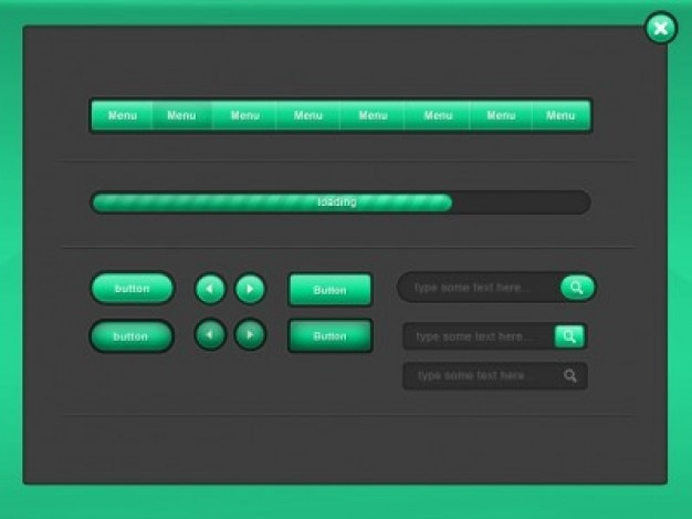 Pack green ui elements Free Psd