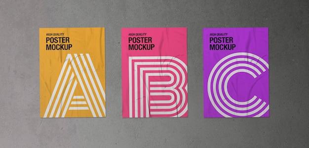 3つのしわくちゃのポスターのモックアップのパック 無料 Psd