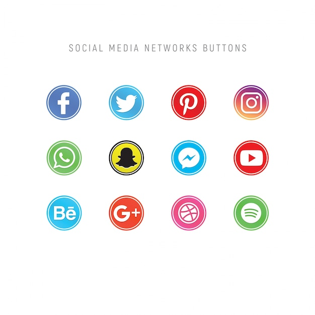 Pack of social media network buttons Premium Psd