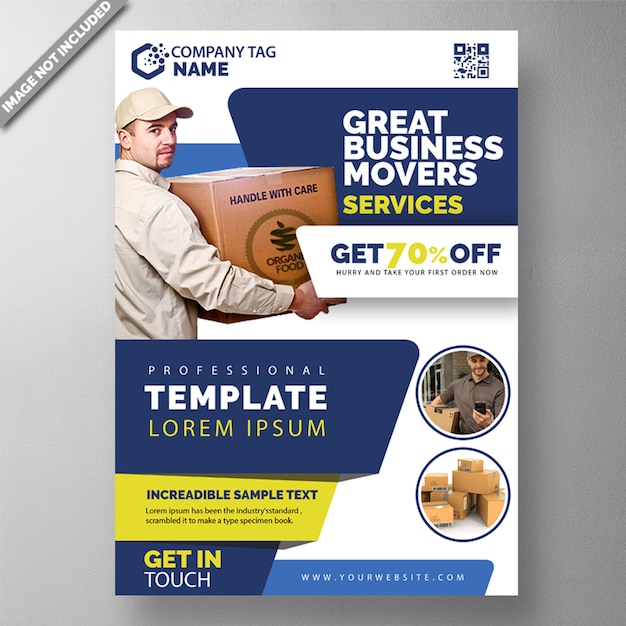 Package delivery flyer template Free Psd