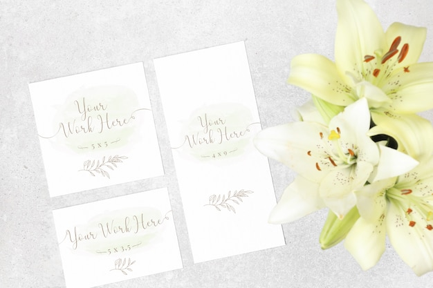 Package of wedding cards with flowers Premium Psd