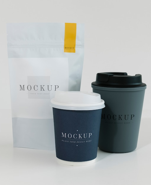 Packaging mockup for a coffee shop Free Psd