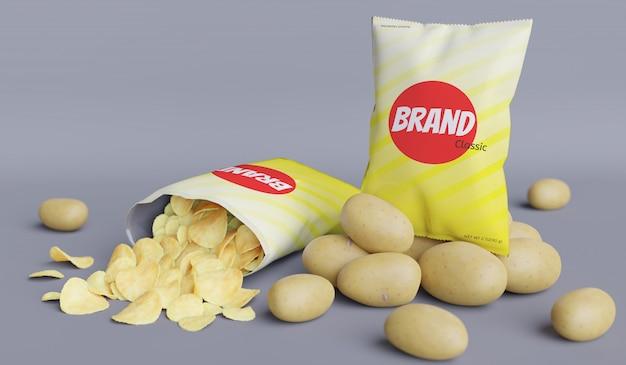 Packet snack potato product 3d render model for product mockup design. Premium Psd