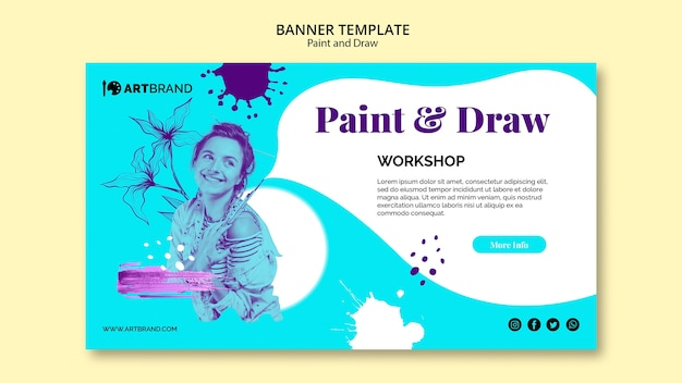 Шаблон для рисования и рисования баннеров Бесплатные Psd