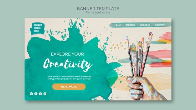 Paint brushes and colours banner Free Psd