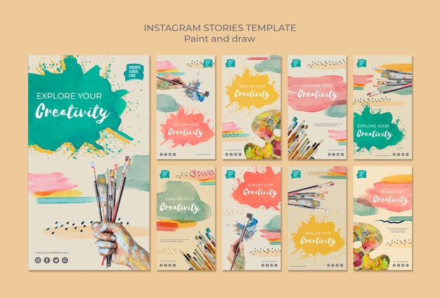 Paint brushes and colours instagram stories Free Psd