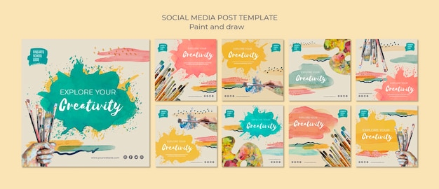Paint brushes and colours social media post Free Psd