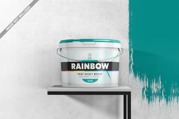 Paint bucket on a stand scene mockup Premium Psd