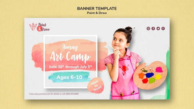 Paint & draw banner Free Psd