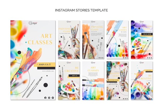 Paint and draw instagram stories template Free Psd