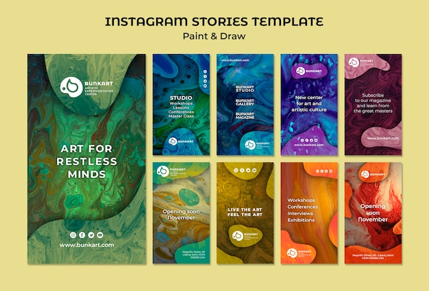 Paint and draw instagram stories Free Psd