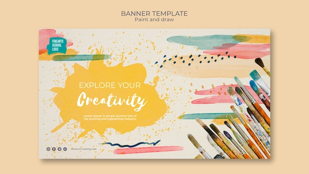 Paint and draw with your favourite colours banner Premium Psd