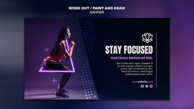 Paint and draw work out banner template design Free Psd