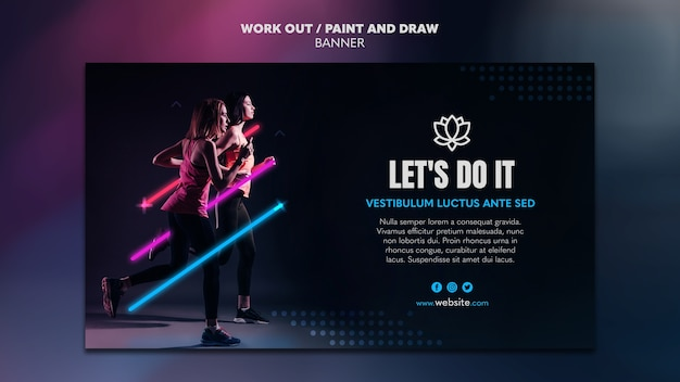 Paint and draw work out banner template Free Psd