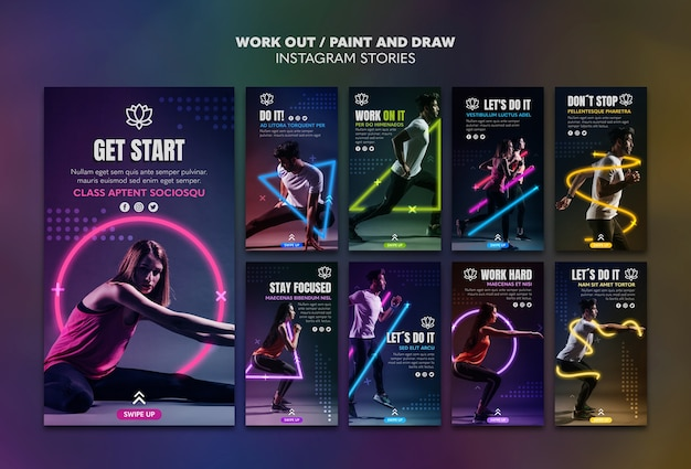 Paint and draw work out instagram stories template Free Psd