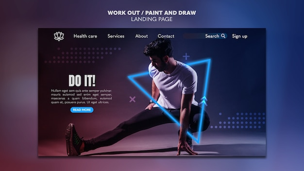 Paint and draw work out landing page template concept Free Psd