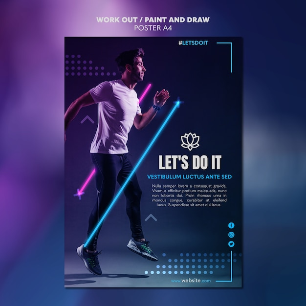 Paint and draw work out poster template concept Premium Psd
