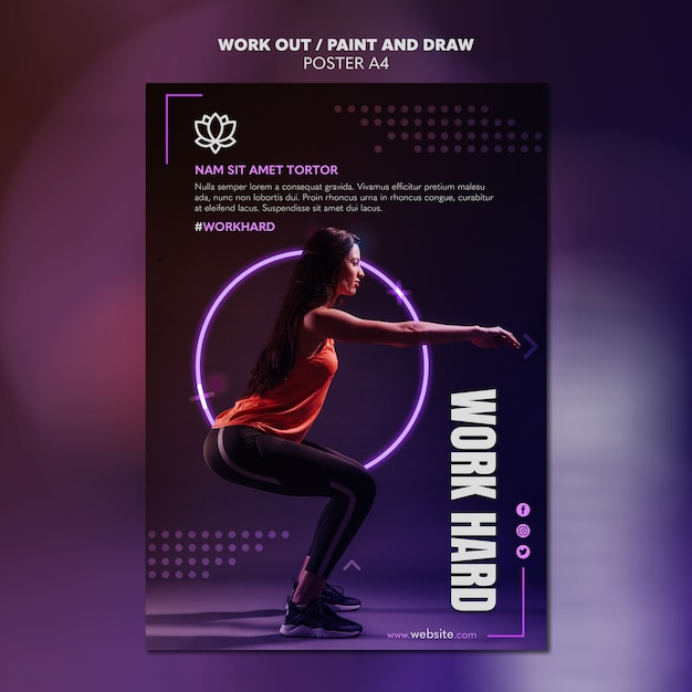 Paint and draw work out poster template design Free Psd