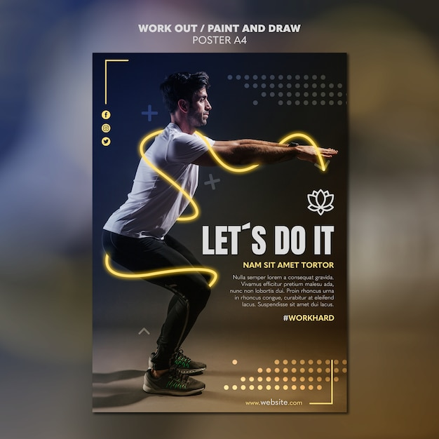 Paint and draw work out poster template theme Free Psd