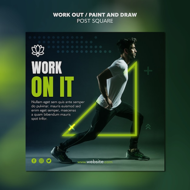 Paint and draw work out poster template Free Psd