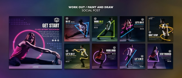 Paint and draw work out social media template Premium Psd
