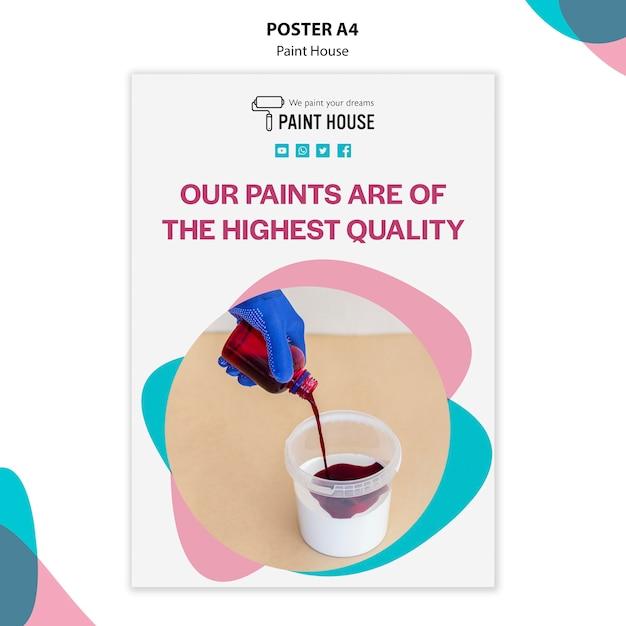 Modello di poster di concetto di casa di vernice Psd Gratuite