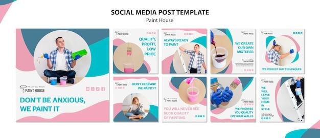 Modello di post di social media concetto di casa di vernice Psd Gratuite