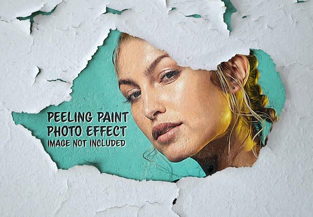 Краска фотоэффект на шелушащейся поверхности стены мокап Premium Psd
