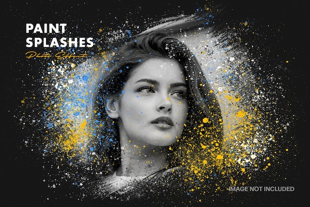 Paint splashes photo effect template