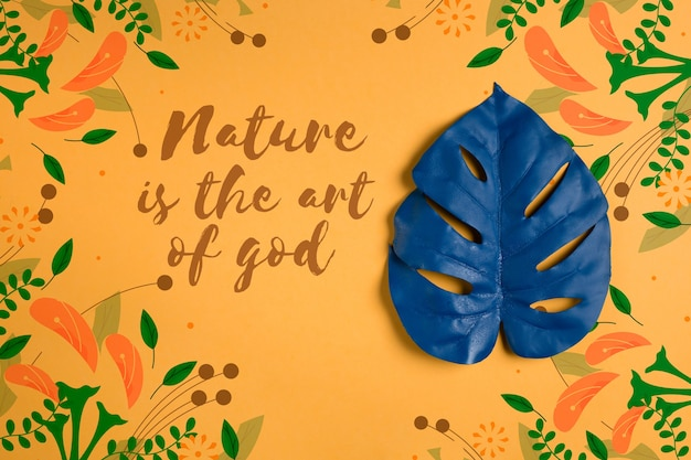 Painted leaf with message about nature Free Psd