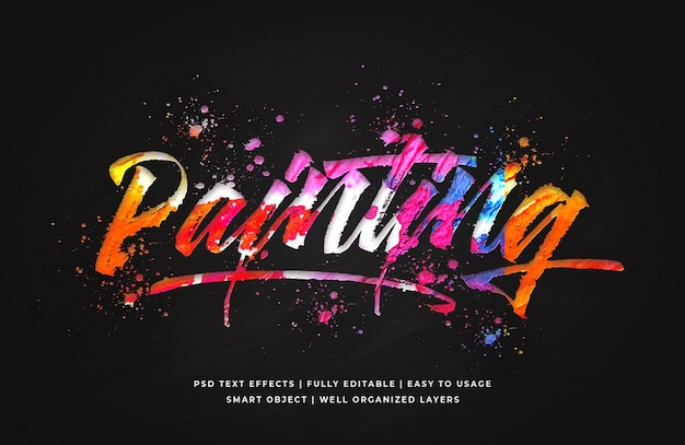 Painting 3d text style effect template Premium Psd